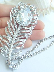 Charms Peacock Feather Necklace Pendant With Clear Rhinestone crystals