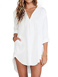 Women's Pure White V Neck/Shirt Collar Long Sleeve Loose Long Shirt
