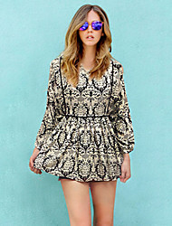 Women's Holiday Loose Dress,Print Stand Mini Long Sleeve Multi-color Others Fall