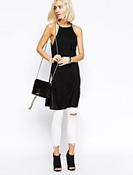 Women's Sexy Halter/Strap Split Vest , Silk/Cotton Sleeveless