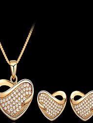 May Polly European heart full diamond necklace earrings set