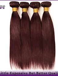 """4pcs / lot 10 """"-26"""" 100% capelli umani tessitura 99j grazia prodotti per i capelli malesi capelli vergini bordeaux dritti colore puro"""