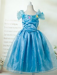 Ball Gown Floor-length Flower Girl Dress - Cotton/Satin/Stretch Satin Short Sleeve