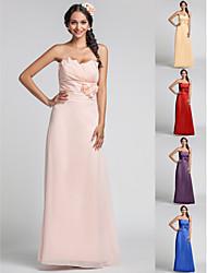 Bridesmaid Dress Floor Length Chiffon Sheath Column Sweetheart Dress (568344)