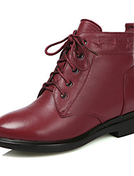 Women's Shoes Leather Low Heel Combat Boots Boots Outdoor/Party & Evening/Casual Black/Brown/Burgundy
