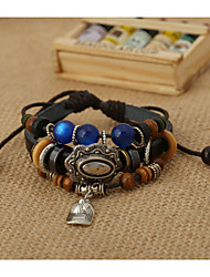 Korean Style Genuine Leather Beads Factory Direct Sales Bracelet(Black)(1Pc)