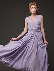 Women's V Neck  , Chiffon Maxi Sleeveless,Dress