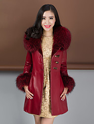 Women's Fashion Bodycon Raccoon/Wool Fur Spliced Genuine/Real Sheepskin Leather Jacket/Coat