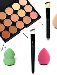 15 couleurs palette visage anti-cernes + fondation brosse oblique + bouffantes maquillage beauté fondation oeuf (des ensembles assortis)