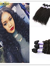 3pcs / lot caliente Venta de productos para el cabello 8a brasileña virginal del pelo humano de la onda profunda 3 pcs trama del pelo 100%
