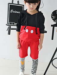 Girl's Cute Print Stripes Contrast Color Clothing Sets (Hoodie & Pants)