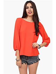 Women's Solid Blue / Red / Black / Orange / Yellow Shirt , Round Neck Long Sleeve