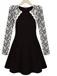 Women's  Casual Sexy lace  Cute Long Sleeve Dress (Lace)