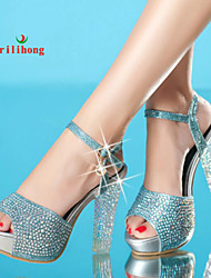 rilihong®Women's Shoes Synthetic Chunky Heel Heels/Peep Toe/Platform/Slingback Sandals Dress Blue/Silver/Gold