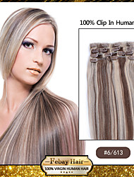 "18 ""Kleur 6/613 clip in remy human hair extensions"