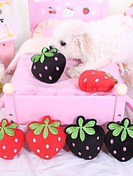 Dog Pet Toys Chew Toy / Plush Toy Squeak / Squeaking / Fruit Red / Black Textile