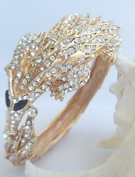 Unique Pangolin Bracelet Bangle With Clear Rhinestone Crystal