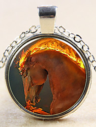 Fashion Sand Painting Horses Pendant Horses Necklace Glass Gem Necklace Gift for Friend