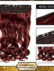resistencia a 24 pulgadas de extensión peluca 5 clip de alta temperatura de 16 colores burg disponibles