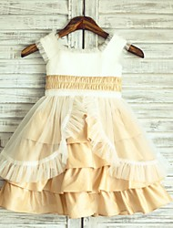 Princess Champagne Knee-length Flower Girl Dress - Taffeta Cap Sleeve