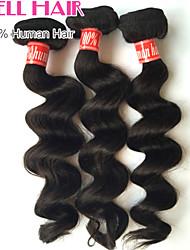 goedkope Braziliaanse maagdelijke haar los golf menselijk haar 3 bundels 8'-30 'inches natuurlijke black hair extensions