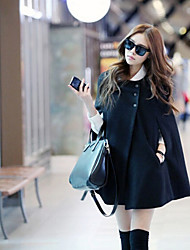 Women's Solid Color Black Coats & Jackets , Casual Round ¾ Sleeve