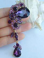 3.94 Inch Gold-tone Purple Rhinestone Crystal Drop Flower Brooch Art Decorations