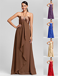 Floor-length Chiffon Bridesmaid Dress - Brown / Royal Blue / Ruby / Champagne / Grape Plus Sizes / Petite Sheath/ColumnHalter /