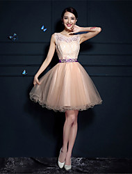 Cocktail Party Dress - Champagne A-line Scoop Short/Mini Tulle