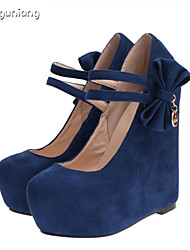 Women's Shoes Faux Suede Wedge Heel Closed Toe Pumps/Heels Party & Evening/Casual Blue