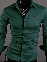 Men's Solid Casual / Work / Formal / Plus Sizes Shirt,Cotton Long Sleeve Blue / Green / Yellow / Beige / Tan