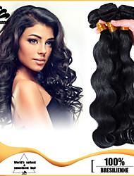 3pcs brasilianische Körperwelle Haarbündel webt Jet Black 100% unverarbeiteten brasilianischen Menschenhaars