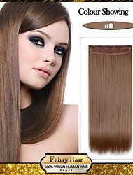 5 clips à long brun clair droit (n ° 6) clip de cheveux synthétiques dans les extensions de cheveux pour les dames