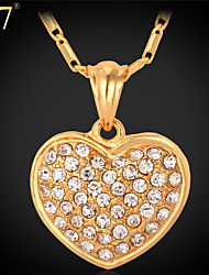 U7® Women's Gold Necklace Fashion Jewelry Platinum/Gold Plated Wholesale Cheap Rhinestone Crystal Heart Necklace