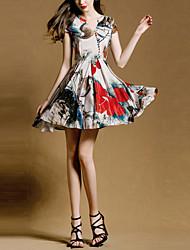 Vestidos ( Seda ) MULHERES - Estampado Decote em V - Manga Curta