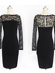 Women's Vintage Round Neck Lace Dress , Cotton Blends Black Bodycon/Casual/Lace/Party