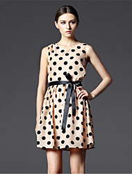 New Arrival!A-line Slim-version Deign  Sleeveless Round Neckline Polka Dot Dress with Bow Lacing  Dress Women ZNZ719