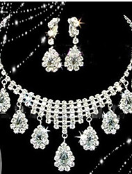 Lucky Doll Women's All Matching 925 Silver Plated Crystal Zirconia Tassel Long Necklace & Earrings Jewelry Sets