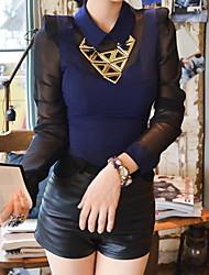 Women's Blue Blouse , Shirt Collar Long Sleeve