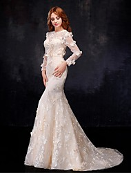 Mermaid / Trumpet Jewel Floor Length Organza Satin Wedding Dress with Flower