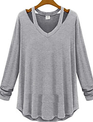 Women's V-Neck T-Shirts , Organic Cotton/Rayon Casual/Work Long Sleeve Phylomeya