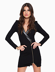 W.W.W  Women's V-Neck Dresses , Cotton Sexy/Casual/Party Long Sleeve