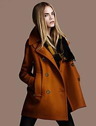 Women's Solid Color Black / Orange / Yellow Coats & Jackets , Casual V-Neck Long Sleeve
