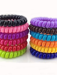 Set Of 10 Telephone Line Style Hair Tie (Random Color)
