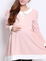 Shirt Collar Maternity Dress , Cotton / Chiffon Mini Long Sleeve