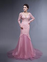 Dress - Pearl Pink Plus Sizes / Petite Trumpet/Mermaid V-neck Sweep/Brush Train Lace / Tulle