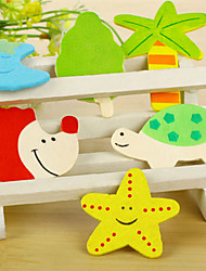 Set of 12 Wooden Colorful Various Cartoon Shapes Refrigerator Magnets (Random Color)