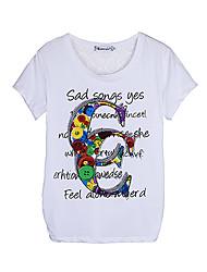 Ronde hals - Katoen/Polyester - Bloem - Vrouwen - T-shirt - Korte mouw