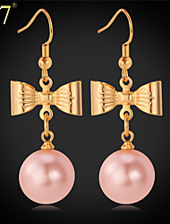 U7® Women's Bowknot Gold Earrings 18K Real Gold Plated Pearl Jewelry Girly Cute White/Pink Pearl Drop Earrings