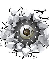 PAG®Modern Design 3D Effect Broken Wall Pattern Clock Sticker 16.37*14.96 in